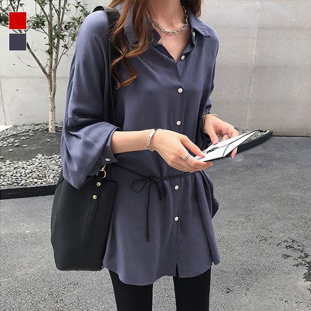 ウエスト紐で美スタイル&雰囲気UPのシンプルシャツ★