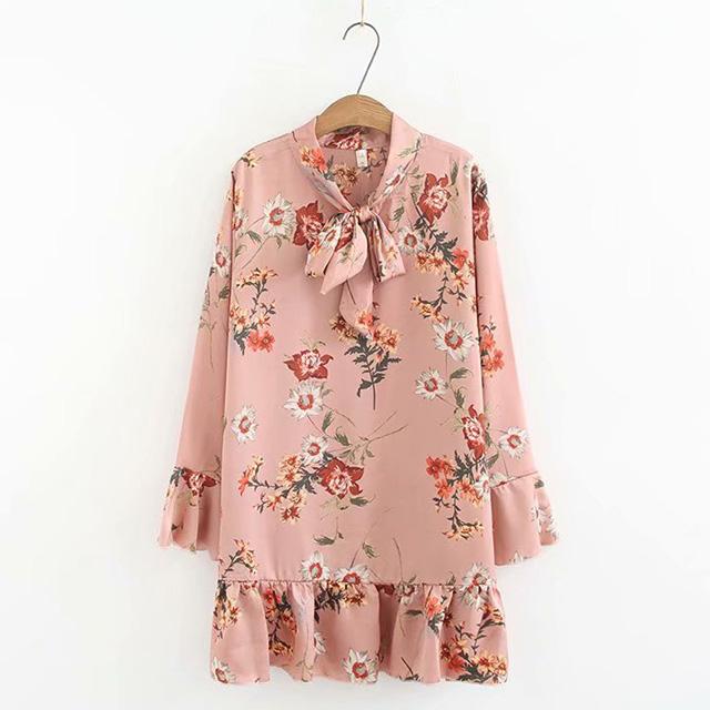 華やかな花柄!リボン&裾フレアワンピース★