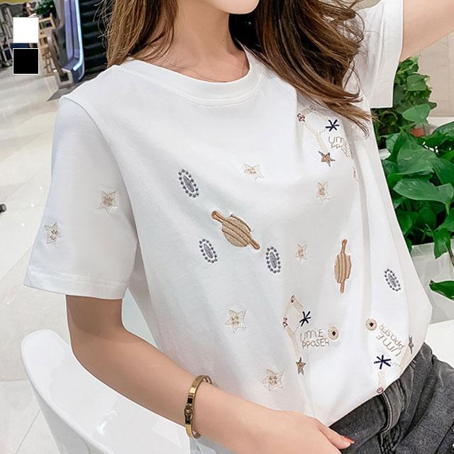 宇宙柄の刺繍が可愛い、半袖Tシャツ★