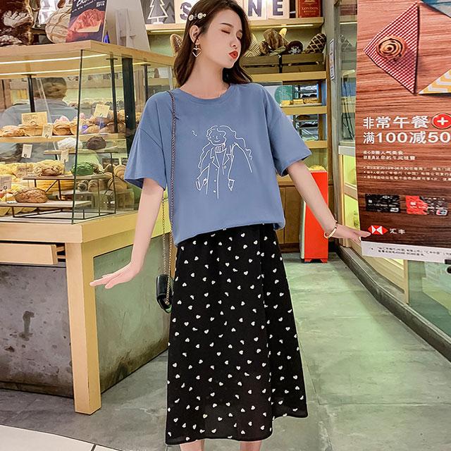 ARTなTシャツ×ハートドットスカートセットアップ★