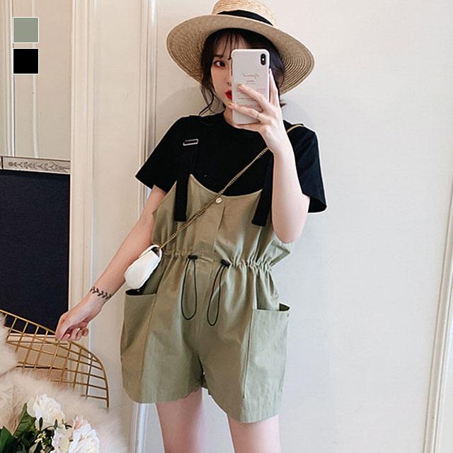 おしゃれカジュアル☆Tシャツ×サロペットショートパンツセット★
