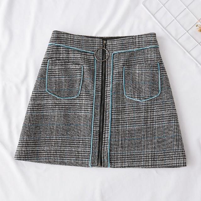 フロントファスナー。グレンチェックの台形スカート★