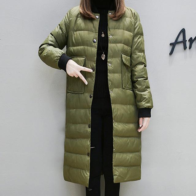 首元スッキリ着られる☆ボタンアップのノーカラーダウンコート★