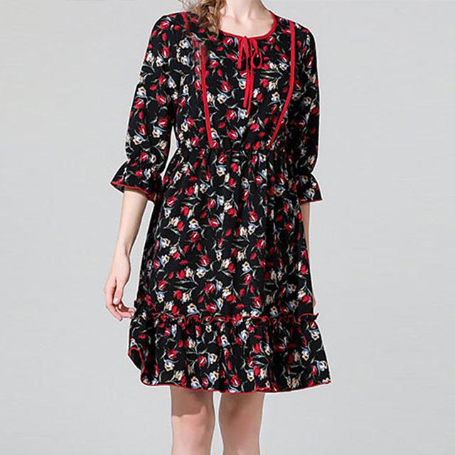 ロマンティックなデザインの七分袖花柄ワンピース★