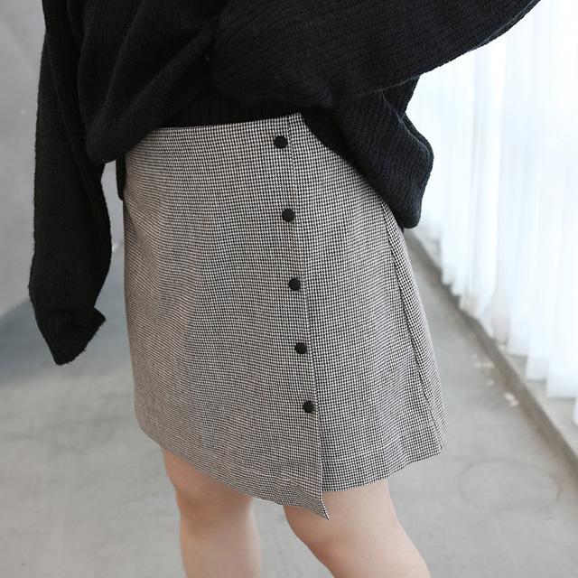 裾上品スタイルが叶う♪巻きスカート風のチェックスカート★
