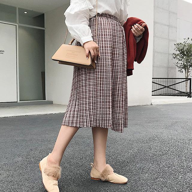 レトロガーリー♪ウエストゴムのチェック柄スカート★