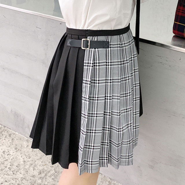 主役級の存在感♪プリーツ&チェック切替スカート★