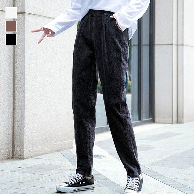 履きやすいウエストゴムのコーデュロイロングパンツ★