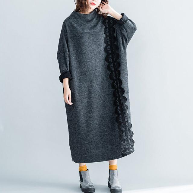 レース飾りのハイネックワンピ☆ゆったり着られる《ミニョンイージーライフ》★