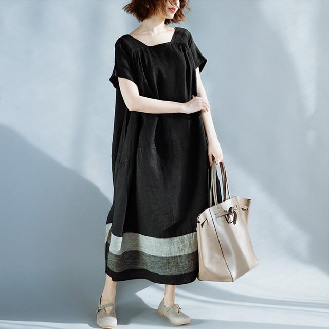 スクエアネックの裾ボーダーワンピ☆ゆったり着られる《ミニョンイージーライフ》★