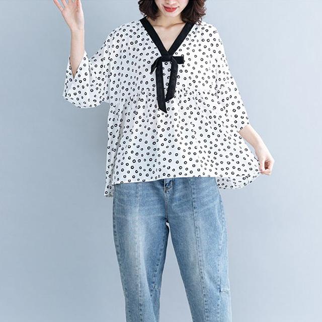 リボン付のレトロドットブラウス☆ゆったり着られる《ミニョンイージーライフ》★