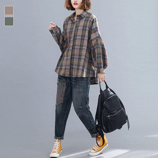 ドロップショルダーのドルマンチェックシャツ☆ゆったり着られる《ミニョンイージーライフ》★