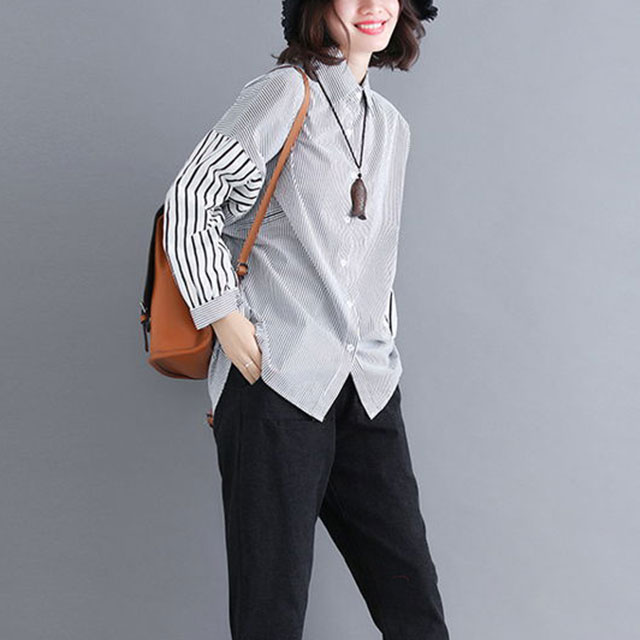 おしゃれストライプシャツ☆ゆったり着られる《ミニョンイージーライフ》★