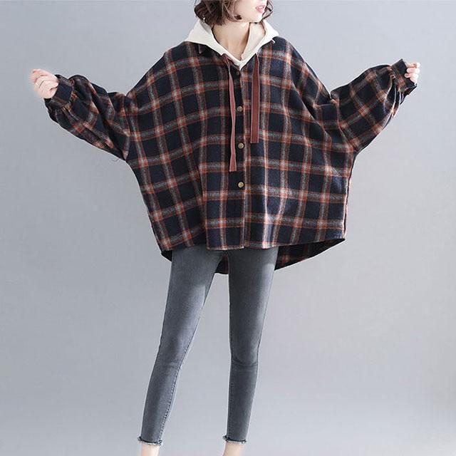 チェック柄シャツジャケット☆ゆったり着られる《ミニョンイージーライフ》★