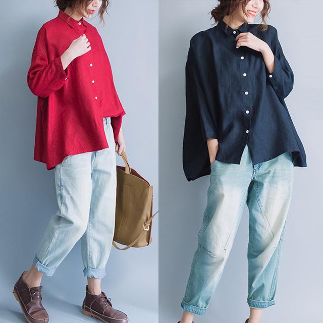 ふんわりシンプルフレアシャツ☆ゆったり着られる《ミニョンイージーライフ》★