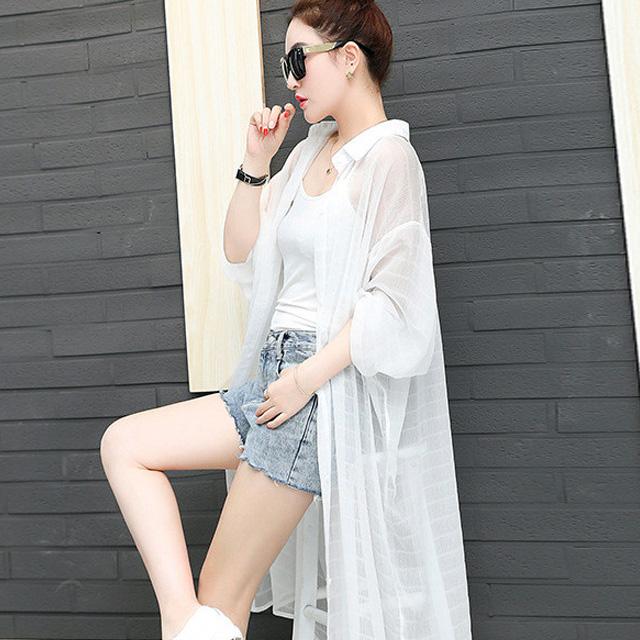 透け感ロングシャツ☆ゆったり着られる《ミニョンイージーライフ》★