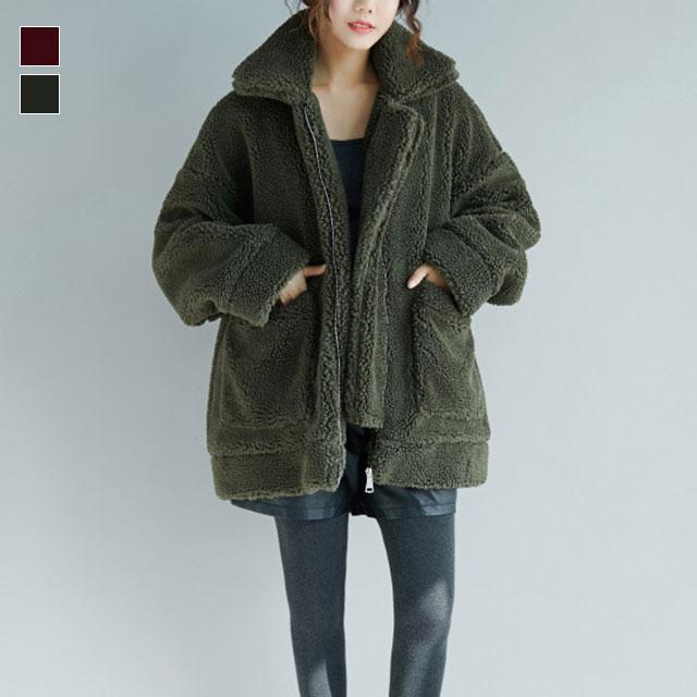 ふかふかボアのショート丈コート☆ゆったり着られる《ミニョンイージーライフ》★