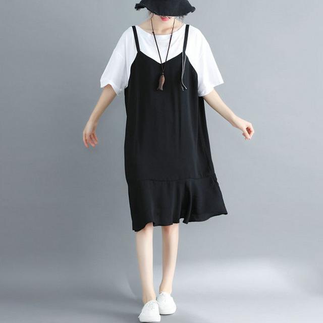 黒白レイヤードワンピース☆ゆったり着られる《ミニョンイージーライフ》★