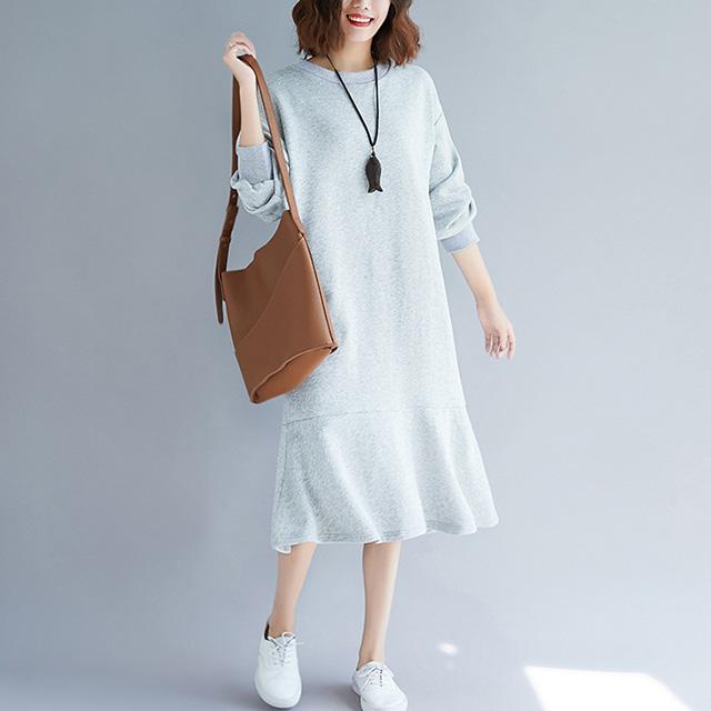 裾フレアのカジュアルワンピース☆ゆったり着られる《ミニョンイージーライフ》★