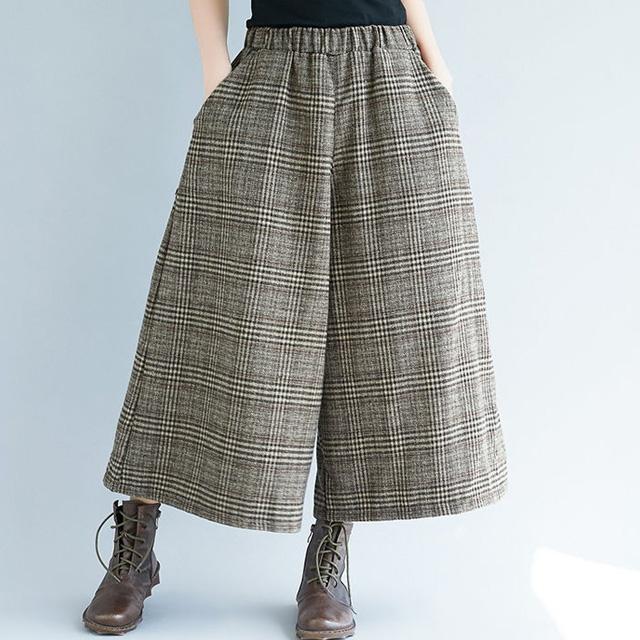ワイド幅のグレンチェックパンツ☆ゆったり着られる《ミニョンイージーライフ》★
