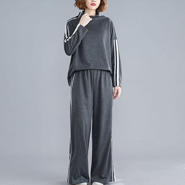 デザインネックのライントップス×パンツ☆ゆったり着られる《ミニョンイージーライフ》★