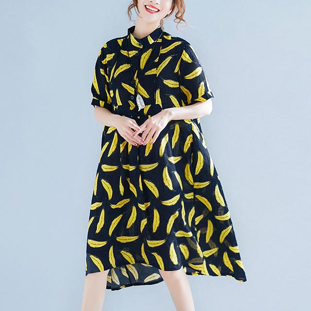 ユニーク可愛いバナナ柄ワンピース☆ゆったり着られる《ミニョンイージーライフ》★