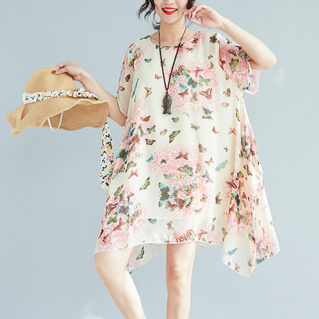 蝶々が舞うふんわり裾ワンピース☆ゆったり着られる《ミニョンイージーライフ》★