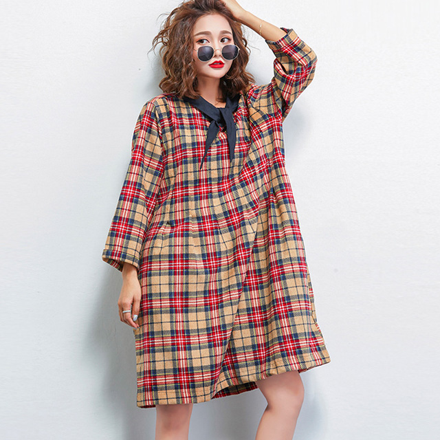 スカーフ飾りのチェックワンピース☆ゆったり着られる《ミニョンイージーライフ》★