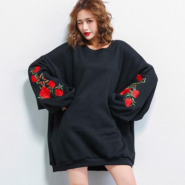薔薇刺繍のぷっくり袖トップス☆ゆったり着られる《ミニョンイージーライフ》★
