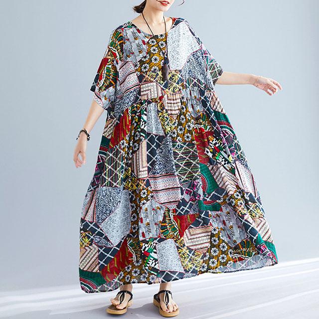 鮮やかなパッチワークワンピ☆ゆったり着られる《ミニョンイージーライフ》★