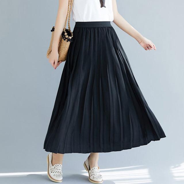 ロングプリーツスカート☆ゆったり着られる《ミニョンイージーライフ》★