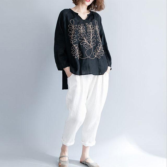 リーフ刺繍の長袖トップス☆ゆったり着られる《ミニョンイージーライフ》★