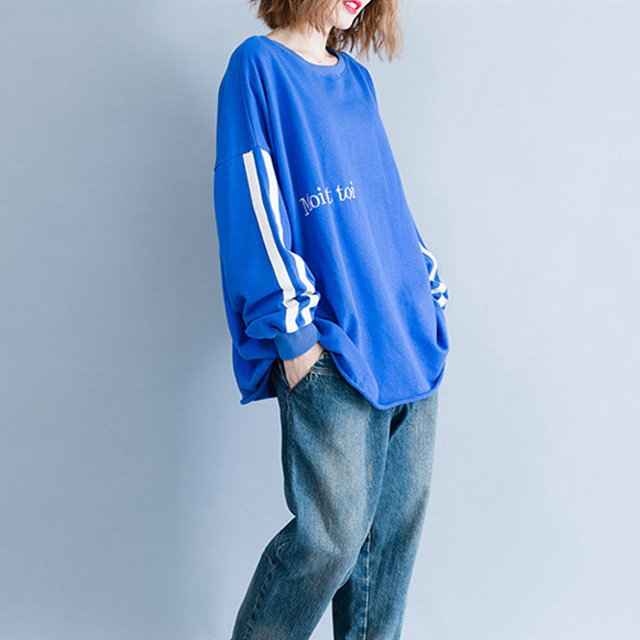スポーティーなライン袖トップス☆ゆったり着られる《ミニョンイージーライフ》★