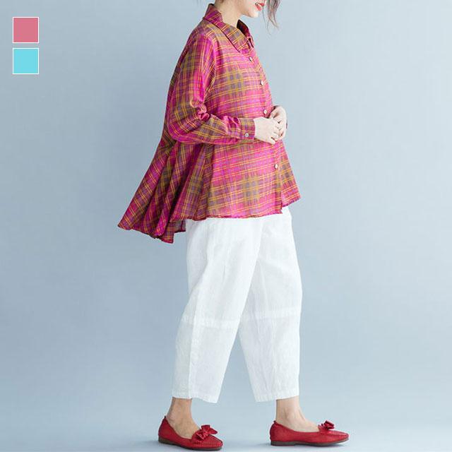 チェック柄フレアシャツ☆ゆったり着られる《ミニョンイージーライフ》★