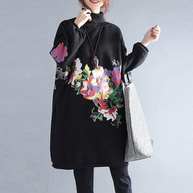 鮮やかな花柄のハイネックワンピース☆ゆったり着られる《ミニョンイージーライフ》★