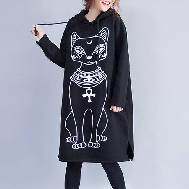 エスニックな猫のパーカーワンピース☆ゆったり着られる《ミニョンイージーライフ》★