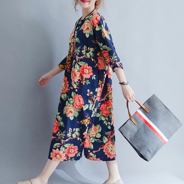 鮮やか花柄の半袖ワンピース☆ゆったり着られる《ミニョンイージーライフ》★