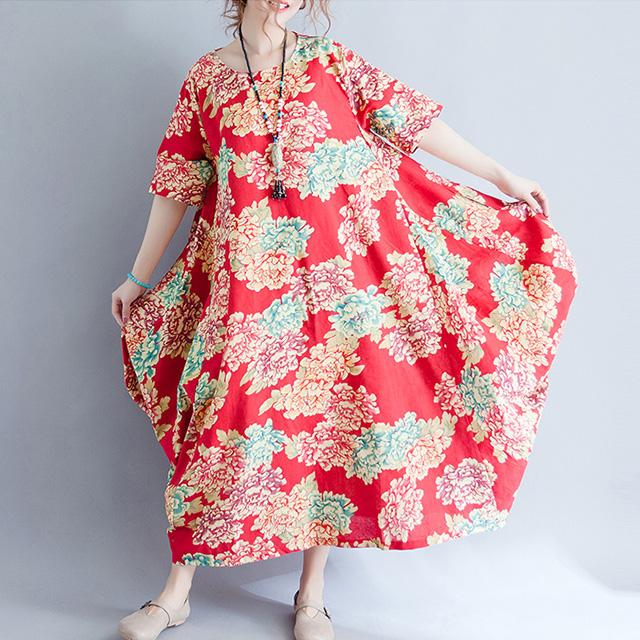 優雅な花柄のロング丈ワンピース☆ゆったり着られる《ミニョンイージーライフ》★