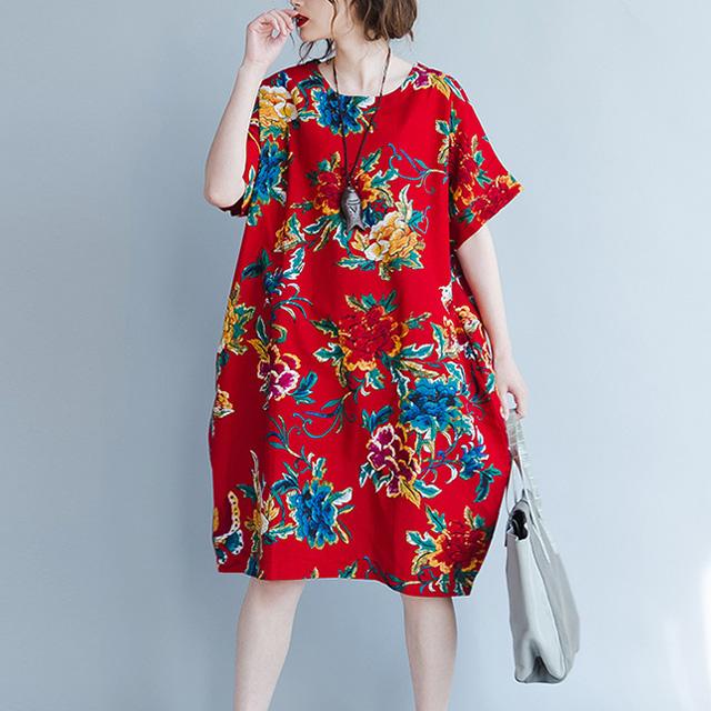 鮮やかなレトロ花柄ワンピース☆ゆったり着られる《ミニョンイージーライフ》★