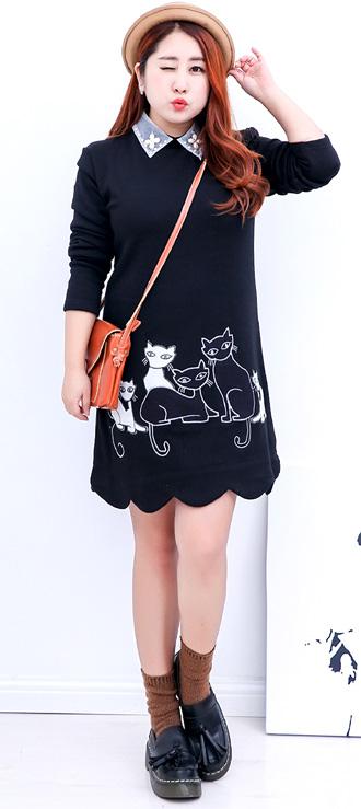 キュートな猫プリント☆ビジュー飾りの襟がポイント☆あったかワンピース★