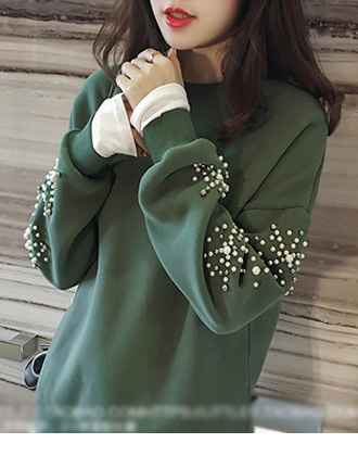 キラッと輝くパール飾り☆裾切替の重ね着風トップス★