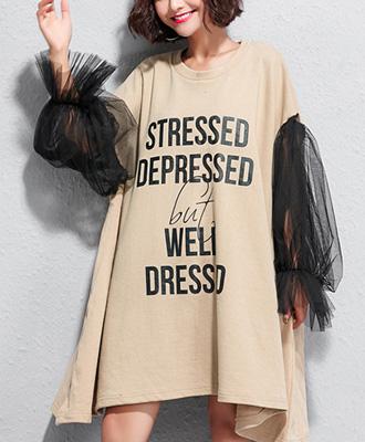LUXEレース袖のTシャツワンピース☆ゆったり着られる《ミニョンイージーライフ》★