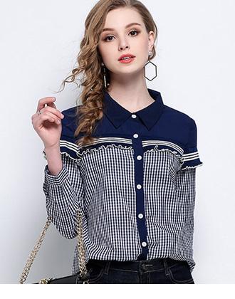 胸元フリルで可愛さプラス☆ギンガムチェックシャツ★