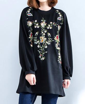 日常映えするお花刺繍チュニック☆ゆったり着られる《ミニョンイージーライフ》★
