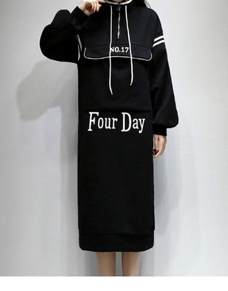 袖ラインのパーカーワンピース☆ゆったり着られる《ミニョンイージーライフ》★