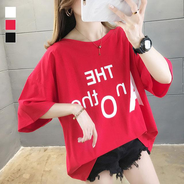 インパクト英字プリント☆バッククロス半袖Tシャツ★