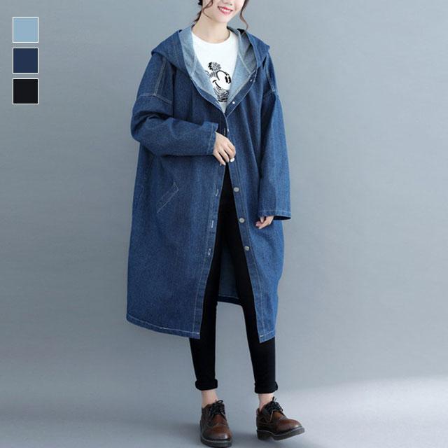 オーバーシルエのフーデッドデニムコート☆ゆったり着られる《ミニョンイージーライフ》★