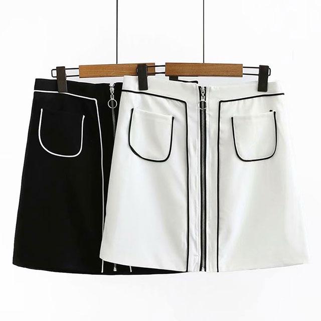 フロントファスナーのポケット付縁取りスカート★