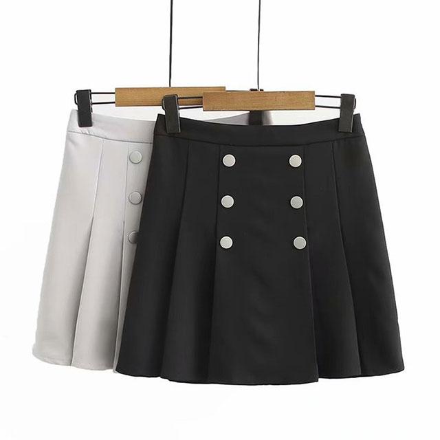フロントボタンがポイント☆サイドプリーツのキュロットスカート★
