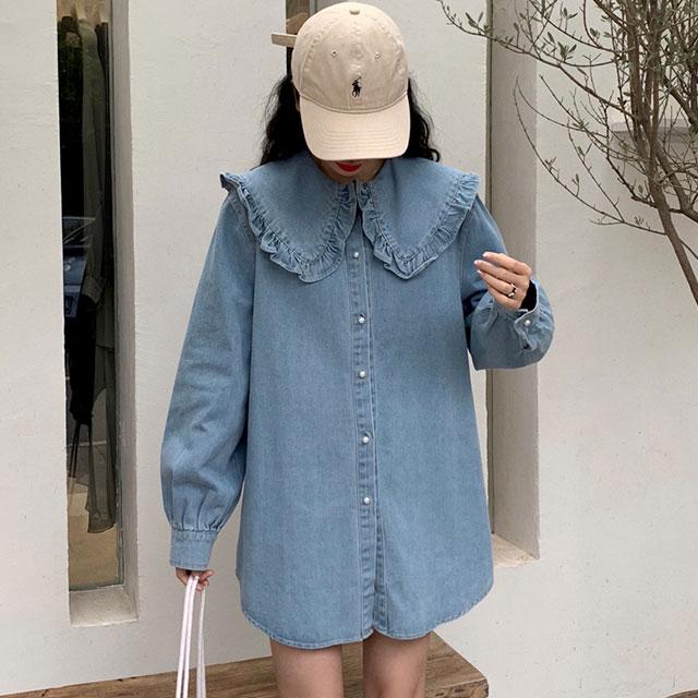 大きめフリル襟がキュートなデニムシャツ★